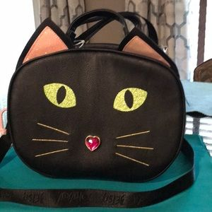 Betsey Johnson Black, Insulated Cat Lunch Tote